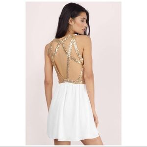TOBI white dress with gold sequins open back